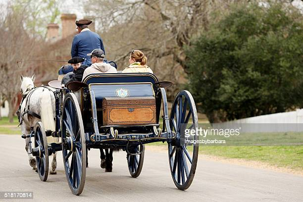 horse drawn carrige ride - colonial williamsburg stock photos and pictures