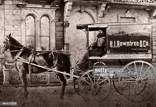 Horse drawn cart of Wright Rich 132 Milk Street Boston advertising Henry Isaac Rowntree Co Manufacturer of Cocoa and Confections York Boston...