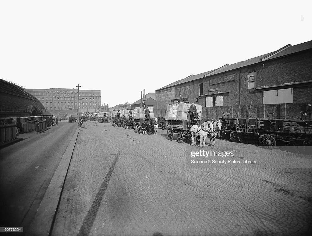 Horse drawn vehicles at Paddington goods depot, 1923. : News Photo