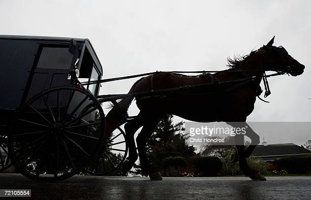 A horse draws an Amish carriage through Georgetown during the funeral of slain Amish schoolgirl Anna Mae Stoltzfus October 6 2006 in Bart Township...