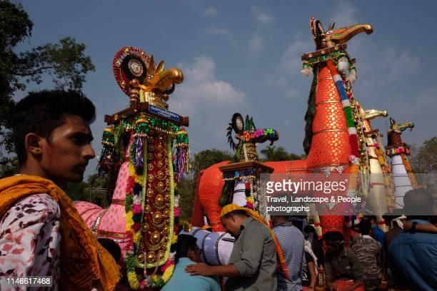 horse effigey festival, machadu mamangam, kerala, india - effigy stock pictures, royalty-free photos & images