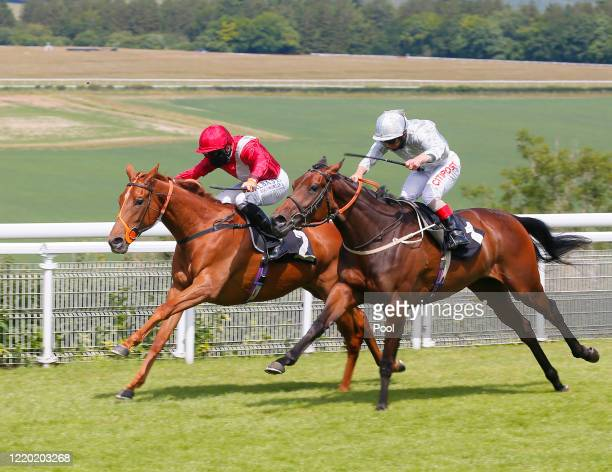 Horse Feathers and jockey Pat Dobbs gets up to win alongside horse Basilicata and jockey Franny Norton in The Coral EBF Fillies' Novice Stakes at...