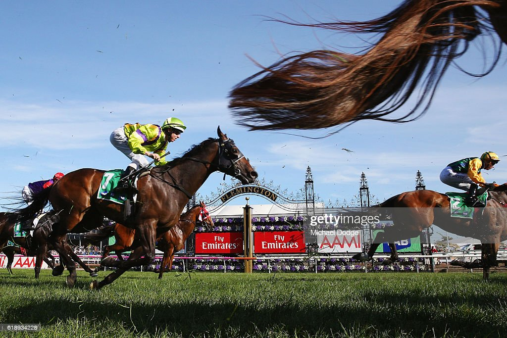 Horse finish past the post in race 9 The tab.com.au Stakes on Derby Day at Flemington Racecourse on October 29, 2016 in Melbourne, Australia.