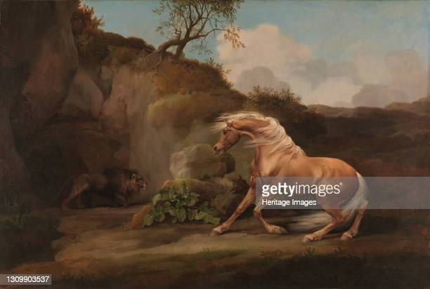 Horse Frightened by a Lion;Horse and Lion;Lion frightened by a Horse, between 1762 and 1768. Artist George Stubbs. .