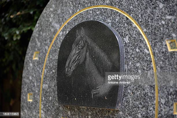 A horse grave stands in the cemetery on September 10 2013 in AsnieressurSeine FranceThe plaque says that he saved 40 people trapped in mountain snow...