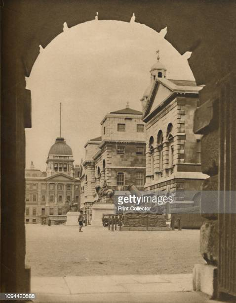 Horse Guards Parade Framed in the Archway of Treasury Passage', circa 1935. Military parade ground off Whitehall in Westminster, London. It is the...