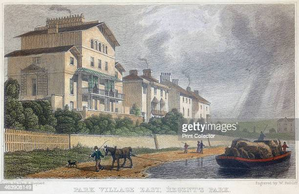 Horse hauling a barge on the Regent's Canal at Park Village East, London, 1829. The Regent's Canal, connecting the Paddington Canal and the Thames at...