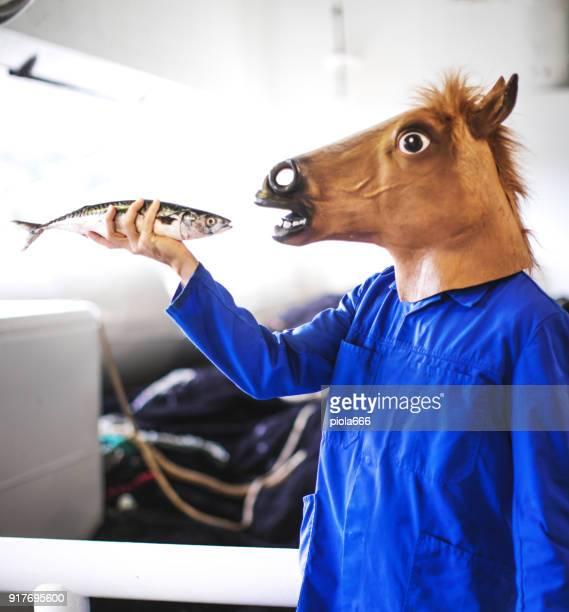 Paard hoofd visser met verse vis