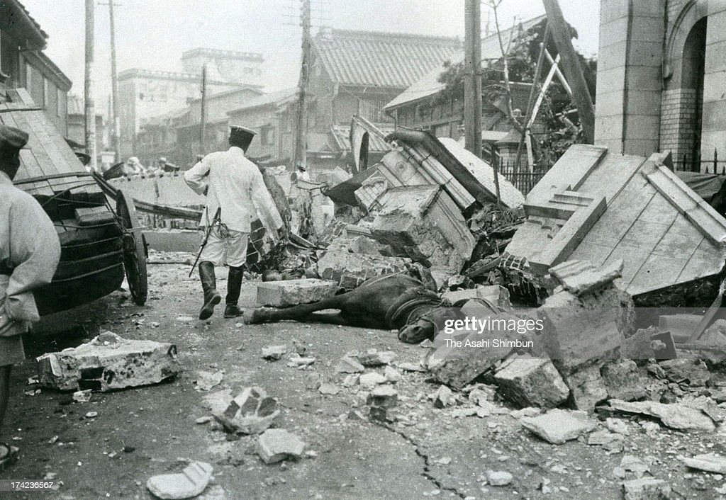 A horse is trapped by the debris after the Great Kanto Earthquake at Kyobashi area in September 1923 in Tokyo, Japan. The estimated Magnitude 7.9 strong earthquake hit Japan's capital Tokyo and surrounding area, the death toll was estimated up to 105,000 people. Approximately 38,000 victims were killed by fire whirl engulfed the former Army Clothing Depot site, where people had evacuated.