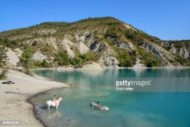 horse & lake castillon provence france - alpes de haute provence stock pictures, royalty-free photos & images