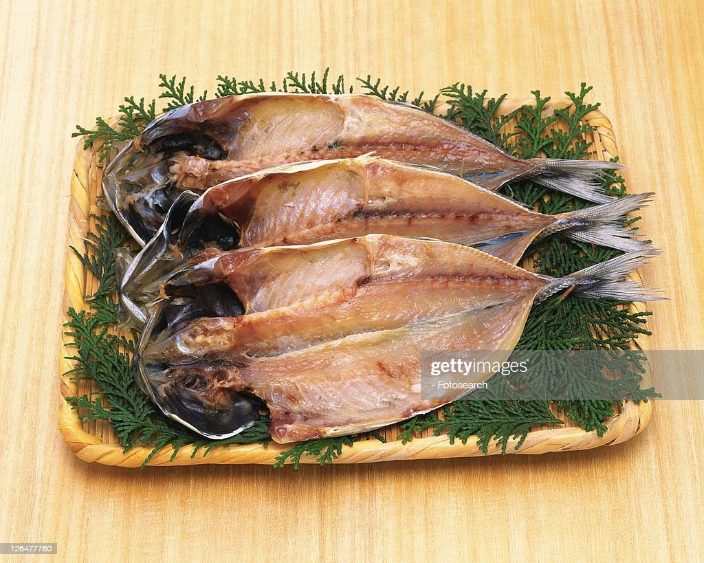 Horse Mackerel cut open and dried, high angle view : Stock Photo