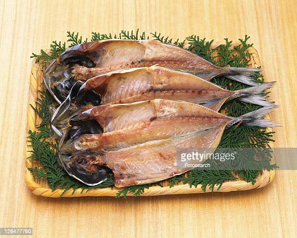 Horse Mackerel cut open and dried, high angle view