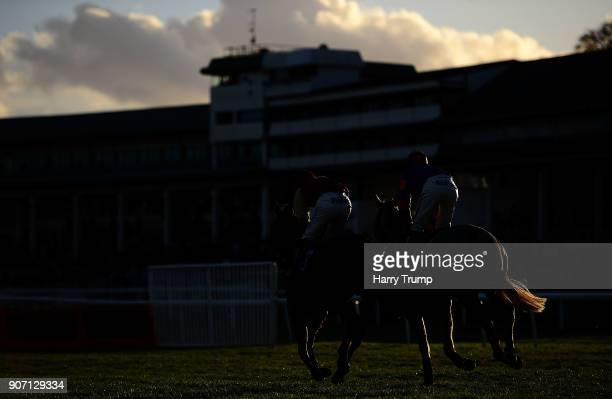 Horse make their way to the finish during the Download The App at 188Bet Handicap Steeple Chase at Chepstow Racecourse on January 19 2018 in Chepstow...