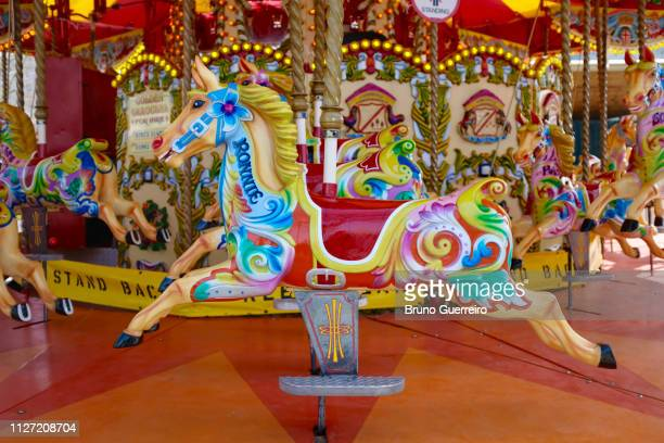 horse of traditional merry go round - tradition stock pictures, royalty-free photos & images