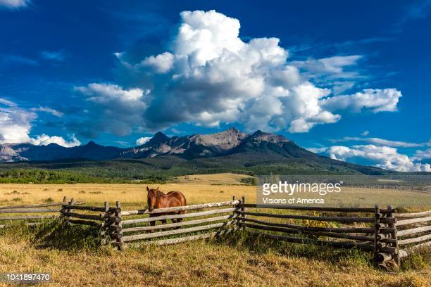 Horse overlooks worm western fence in front of San Juan Mountains in Old West of Southwest Colorado near Ridgway