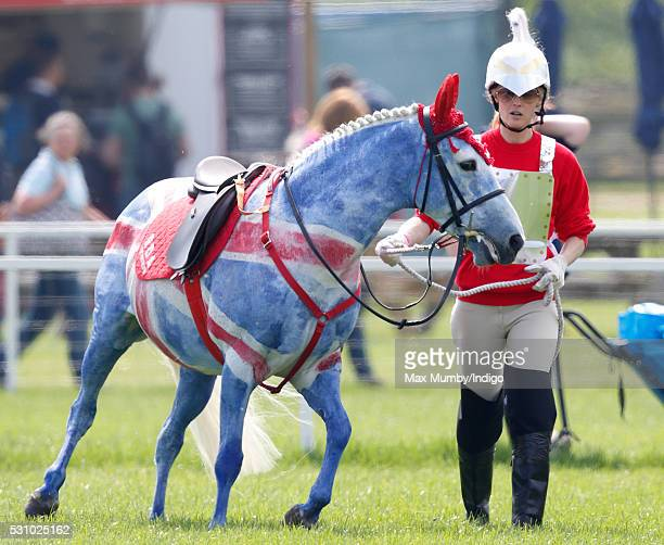 A horse painted as a Union Flag seen on day 2 of the Royal Windsor Horse Show in Home Park on May 12 2016 in Windsor England