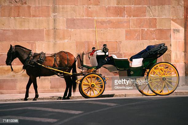 horse pulling a carriage, malaga, spain - carriage stock pictures, royalty-free photos & images
