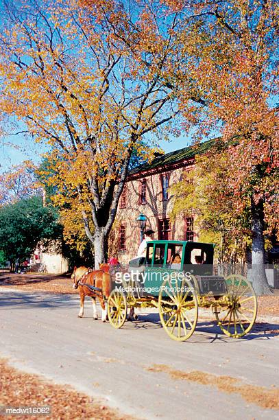 horse pulling carriage in colonial williamsburg, virginia, usa - williamsburg virginia stock pictures, royalty-free photos & images