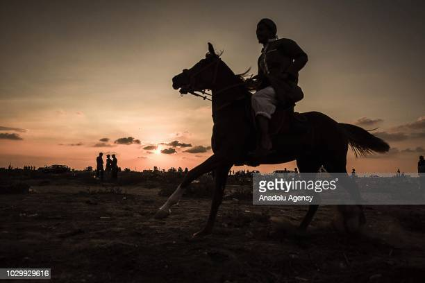 Horse race event organised at the airfield of Yasser Arafat International Airport in Rafah, Gaza on September 09, 2018. Gaza International Airport...
