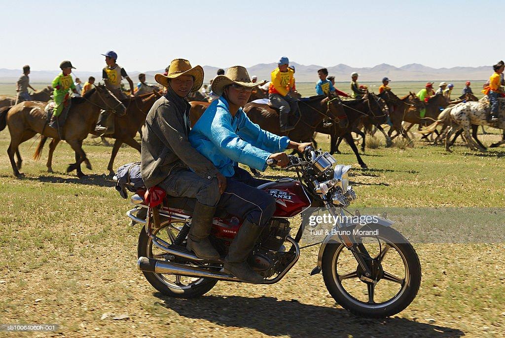 Horse race for Naadam festival : Stock Photo