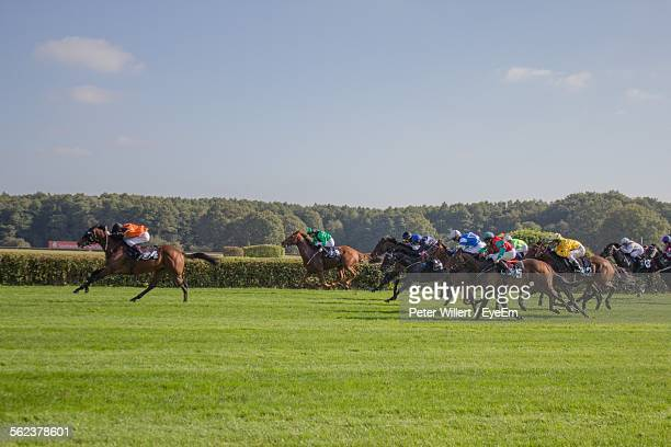 horse race on grassy field against sky - horse racing stock pictures, royalty-free photos & images