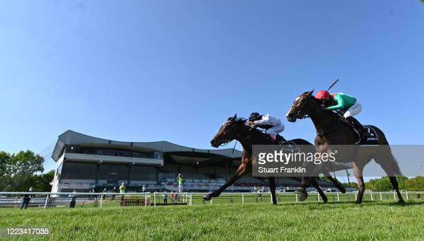 Horse race on the first race meeting in Germany since the corona pause on May 07, 2020 in Hanover, Germany. The performance test is the first horse...