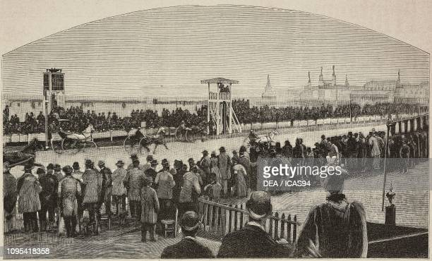 Horse race on the inauguration day of Parco Trotter Milan Italy engraving from a photograph by Treves brothers from L'Illustrazione Italiana year 19...
