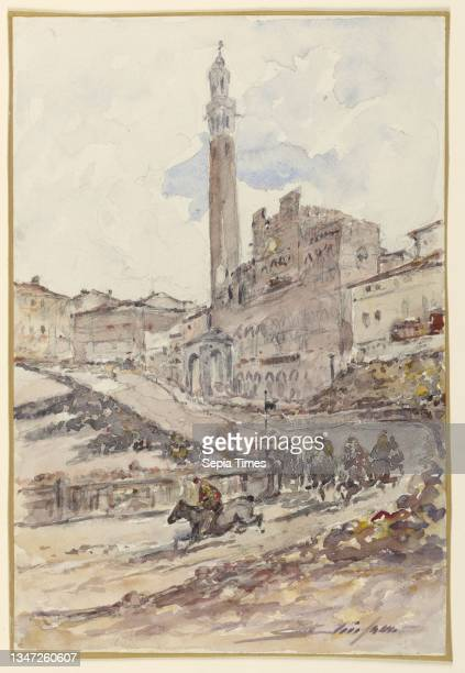 Horse Race, Siena, Italy, Walter Shirlaw, American, b. Scotland, 1838–1909, Brush and watercolor, graphite on paper, A horse race in Siena, Italy....