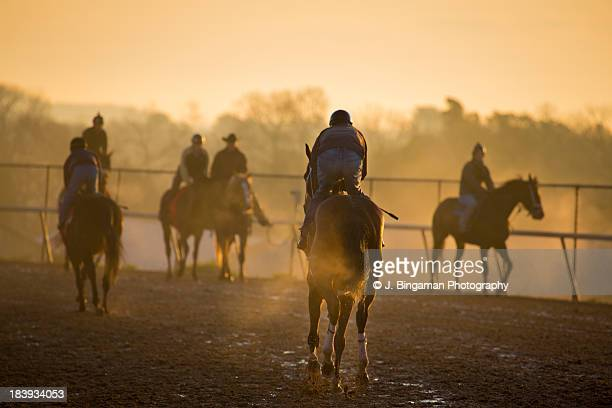 horse races morning workout - arkansas derby stock pictures, royalty-free photos & images