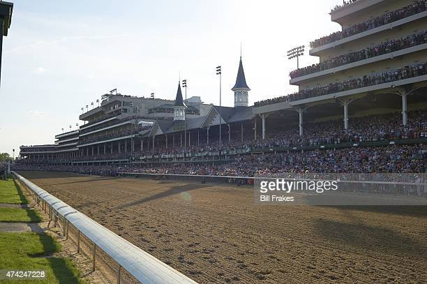 141st Kentucky Derby Overall view of track fans in stands and twin spires during race at Churchill Downs Louisville KY CREDIT Bill Frakes