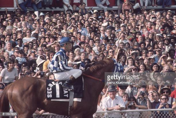 Horse Racing Arlington Invitational Ron Turcotte aboard Secretariat before race at Arlington Park Arlington Heights IL 6/27/1973