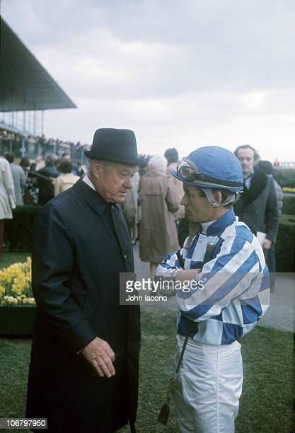 Bay Shore Stakes Secretariat trainer Lucien Laurin with jockey Ron Turcotte before race at Aqueduct Racetrack Jamaica neighborhood of the Queens...