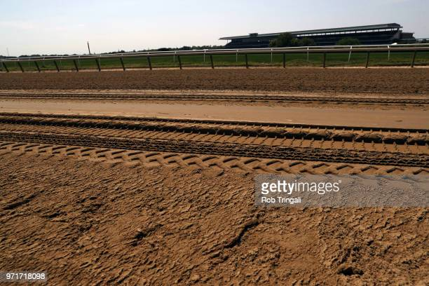 Belmont Stakes Closeup view of dirt track before race at Belmont Park Elmont NY CREDIT Rob Tringali