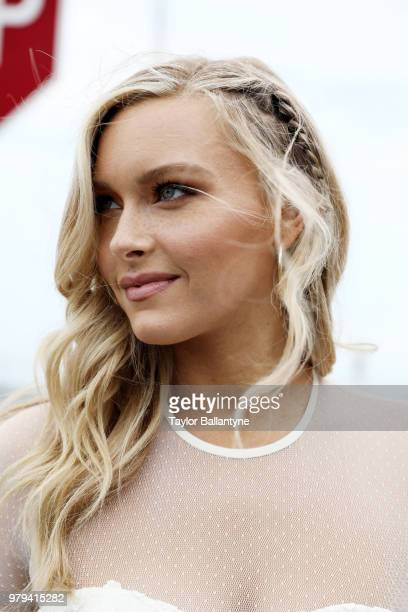 Belmont Stakes Day in the Life Closeup portrait of Sports Illustrated via Getty Images swimsuit model Camille Kostek girlfriend of New England...