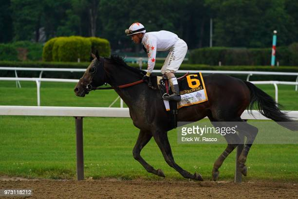 Belmont Stakes Jose Ortiz in action aboard Gronkowski during race at Belmont Park Elmont NY CREDIT Erick W Rasco