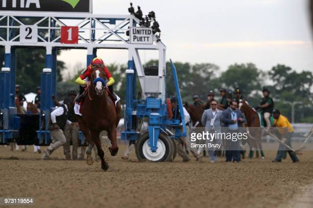 Belmont Stakes Mike Smith in action aboard Justify during race at Belmont Park Elmont NY CREDIT Simon Bruty