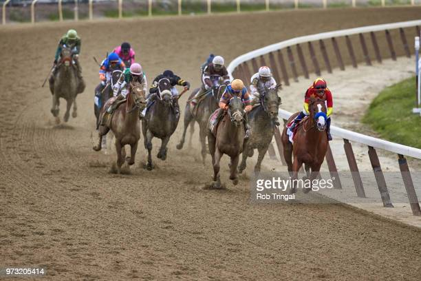 Belmont Stakes Mike Smith in action leading pack aboard Justify during race at Belmont Park Elmont NY CREDIT Rob Tringali
