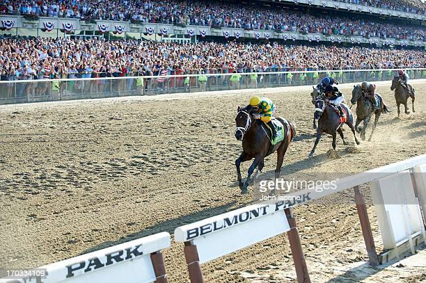 Belmont Stakes Mike Smith in action leading race aboard Palace Malice at Belmont Park Elmont NY CREDIT John Iacono