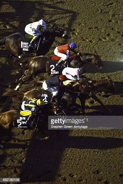 Belmont Stakes Steve Cauthen aboard Affirmed in action vs Jorge Velasquez aboard Alydar out of starting gates at Belmont Park Elmont NY CREDIT...
