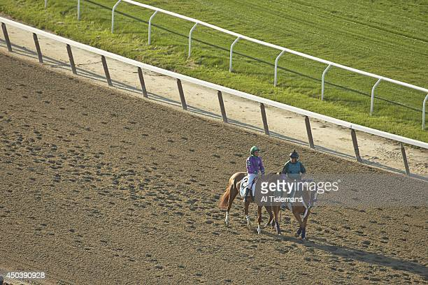 Belmont Stakes Victor Espinoza aboard California Chrome on track before race at Belmont Park Elmont NY CREDIT Al Tielemans