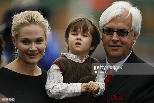 Horse Racing Breeders Cup Juvenille Fillies Closeup of Indian Blessing trainer Bob Baffert with wife Jill and son Bode after winning race at Monmouth...