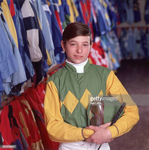 Closeup portrait of 16yearold apprentice jockey Steve Cauthen with silks during photo shoot in Colors Room at Aqueduct Racetrack Jamaica NY CREDIT...