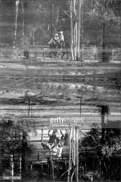 Horse racing commentator Johnny Tapp exercise former racehorse 'Restricted' accompanied by Johny's wife Anna along the track at their Galston...