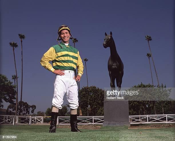 Horse Racing Jockey Gary Stevens in front of Seabiscuit statue at Santa Anita Track Arcadia CA 9/18/2003