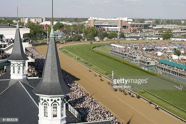 Horse Racing: Kentucky Derby, Aerial view of Kent Desormeaux in action aboard Big Brown vs Gabriel Saez aboard Eight Belles during race at Churchill...