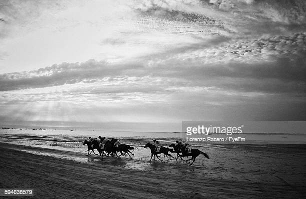 horse racing on beach by sea against cloudy sky - racehorse stock pictures, royalty-free photos & images