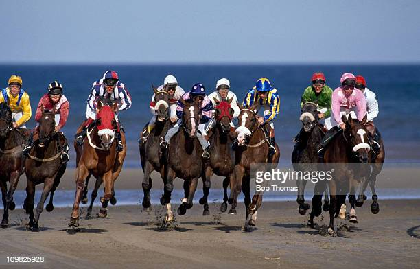 Horse racing on the sand at Laytown Ireland circa 1990