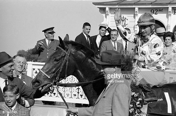 Horse Racing Preakness Stakes Willie Shoemaker victorious aboard Damascus at Pimlico Race Track Baltimore MD 5/20/1967