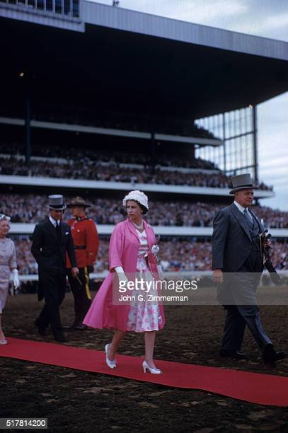 Queen's Plate View of HRH Queen Elizabeth II of England on red carpet before race at Woodbine Track Toronto Canada 6/29/1959 CREDIT John G Zimmerman