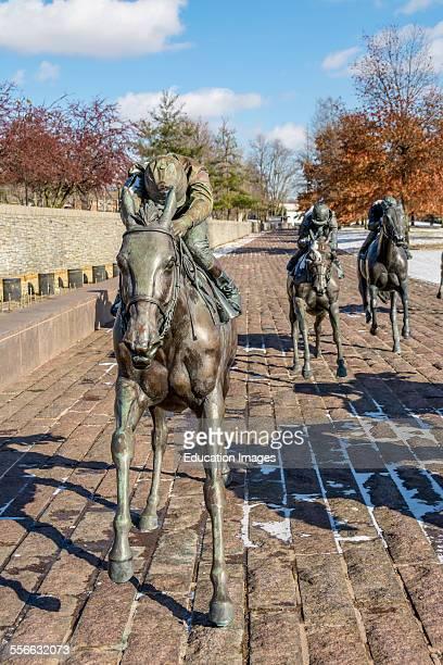 Horse racing sculptures at Thoroughbred Park in Lexington Kentucky USA.